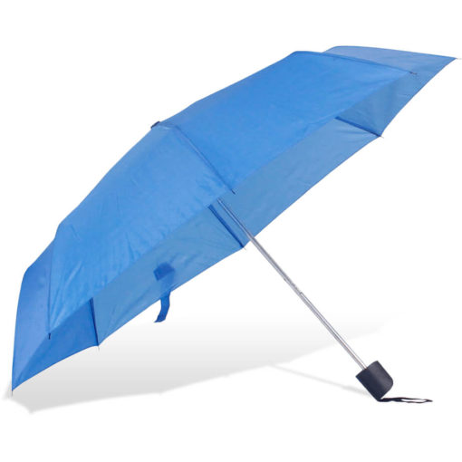 The ST-20 Mini Umbrella is a royal blue polyester 8 panel umbrella with a plastic knob like handle and a wristband for a more secure hold