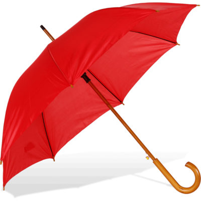The ST-12 Wooden Hook Handle Umbrella is a red nylon umbrella with a metal frame, auto open button and a wooden hook handle