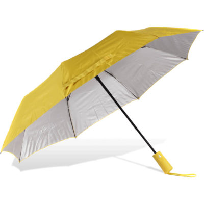 The ST-61 Mini Umbrella is a yellow 210T pongee fabric 8 panel umbrella with a nickle frame, UV coated panels and an auto open-close button on the rubberised handle