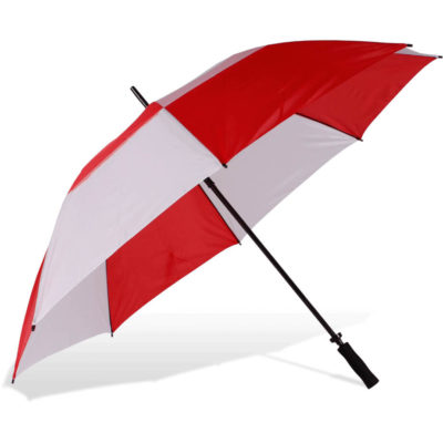 The ST-26E Golf Umbrella is an alternating red nd white nylon 8 panel windproof umbrella, with a fibre glass shadft and ribs, a black foam EVA manual, a manual open function and comes with its own matching colour carry sleeve