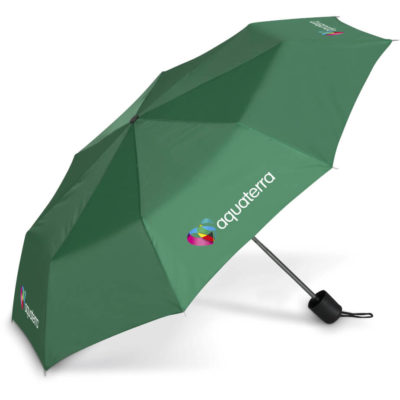 The Tropics Compact Umbrella is a green 190T polyester umbrella with 8 panels and an aluminium shaft and PP plastic handle with a wrsitstrap. Includes matching colour carry pouch