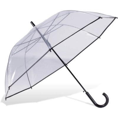 The ST-29 Hook Handle Umbrella Is A Transparent POE/PVC 8 Pnael Umbrella with a zinc platef flute framework, contrasting black trim and matching plastic hook handle