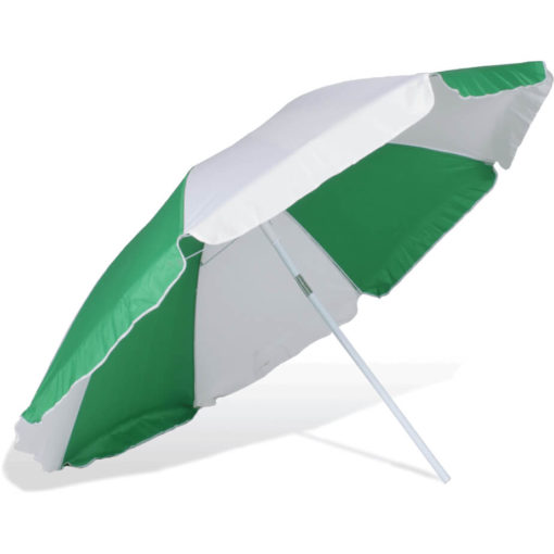 The ST-36 Beach Umbrella is an alternating emerald green and white 8 panel umbrella, with a steel pole and rub framework and open tilt function