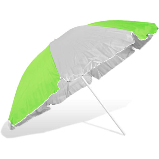 The ST-36 Beach Umbrella is an alternating lime green and white 8 panel umbrella, with a steel pole and rub framework and open tilt function