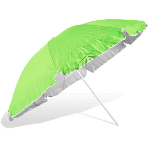 The ST-36 Beach Umbrella is a lime 8 panel umbrella with white trim detail, with a steel pole and rub framework and open tilt function
