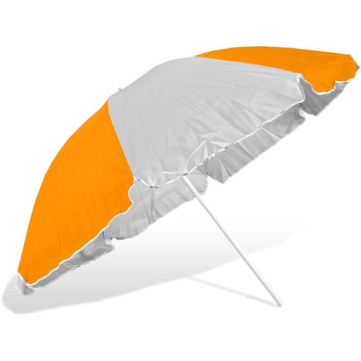 The ST-36 Beach Umbrella is an alternating orange and white 8 panel umbrella, with a steel pole and rub framework and open tilt function