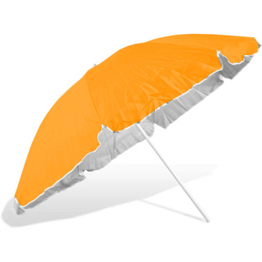 The ST-36 Beach Umbrella is a orange 8 panel umbrella, with a steel pole and rub framework and open tilt function