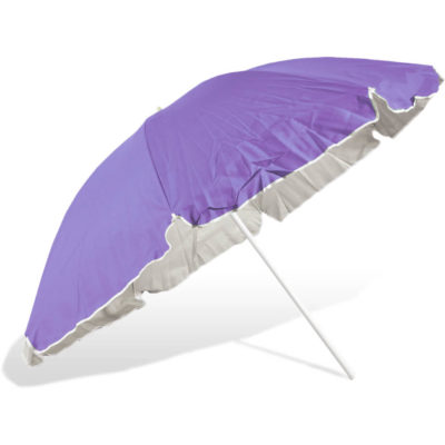The ST-36 Beach Umbrella is a purple 8 panel umbrella, with a steel pole and rub framework and open tilt function