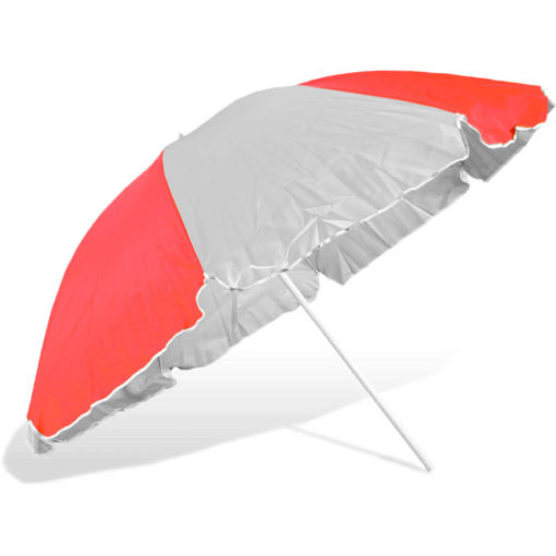 The ST-36 Beach Umbrella is an alternating red and white 8 panel umbrella, with a steel pole and rub framework and open tilt function