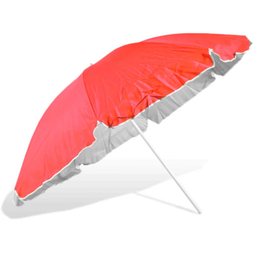 The ST-36 Beach Umbrella is a red 8 panel umbrella, with a steel pole and rub framework and open tilt function