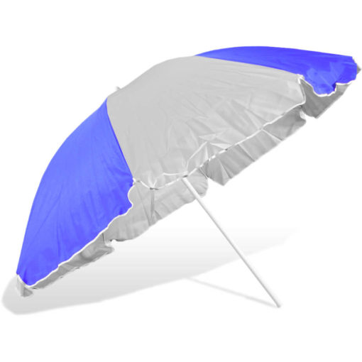 The ST-36 Beach Umbrella is an alternating royal blue and white 8 panel umbrella, with a steel pole and rub framework and open tilt function