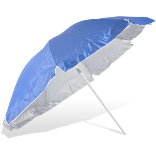 The ST-36 Beach Umbrella is a royal blue 8 panel umbrella, with a steel pole and rub framework and open tilt function