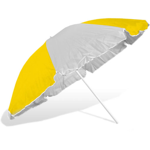 The ST-36 Beach Umbrella is an alternating yellow and white 8 panel umbrella, with a steel pole and rub framework and open tilt function