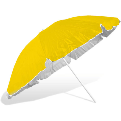 The ST-36 Beach Umbrella is a yellow 8 panel umbrella, with a steel pole and rub framework and open tilt function