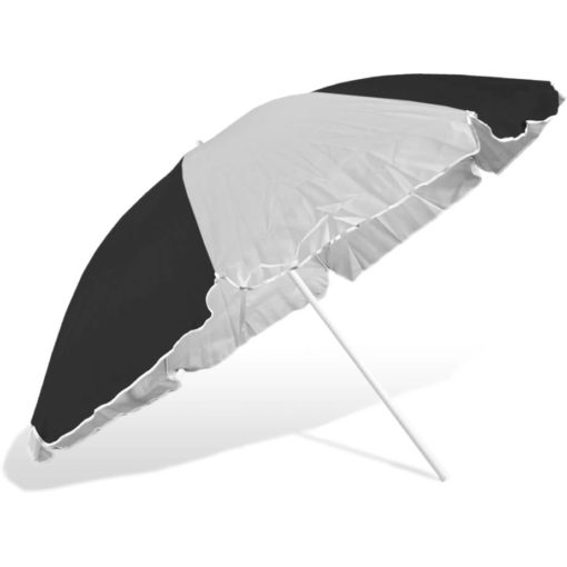 The ST-36 Beach Umbrella is an alternating black and white 8 panel umbrella, with a steel pole and rub framework and open tilt function