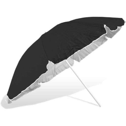 The ST-36 Beach Umbrella is a black 8 panel umbrella, with a steel pole and rub framework and open tilt function