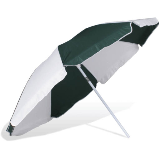 The ST-36 Beach Umbrella is an alternating dark green and white 8 panel umbrella, with a steel pole and rub framework and open tilt function