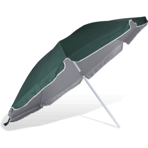 The ST-36 Beach Umbrella is a dark green 8 panel umbrella, with a steel pole and rub framework and open tilt function