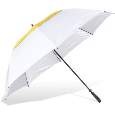 The ST-53N Golf Umbrella is yellow and white 8 panel 210T pongee fabric umbrella, with UV coated panels, fibreglass frame and black rubberised handle with manual open function