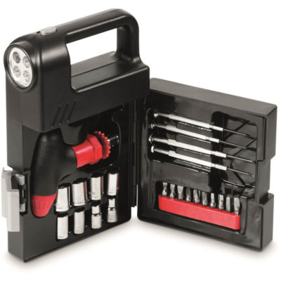 The Nuts And Bolts Tool Set Is Made From Steel. The Set Includes A Screwdriver Handle, Assorted Bits, Assorted Sockets, An Extension Bar, 4 Precision Screwdrivers, A Torch With A White LED Light.