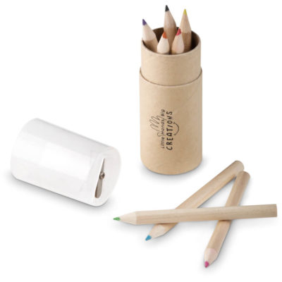 The Chroma Pencil Set is an eco friendly kit. Contains 12 brightly coloured pencils in a kraft paper tube with a removable lid and built in sharpener