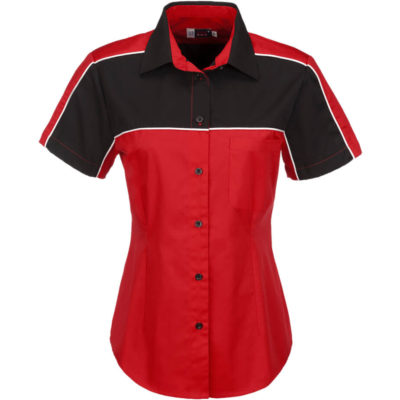 The Red Daytona Pitt Shirt Ladies Is Made From Polyester And Cotton. The Features Include A Curved Hemline, Black Contrast Panes And White Piping Detail.