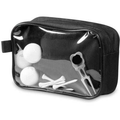 The Gary Player Multi-Purpose Bag is a black 600D and PVC pouch with a large main compartment, zip closure and loop top hang or carry the bag. One side of the bag is a clear PVC display window to view the contents of the pouch