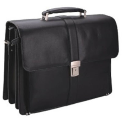 Wallstreet Briefcase is a genuine leather briefcase. With three divisions, a key lock buckle, multiple storage pockets, inside zzipper compatrtment and top carry handles