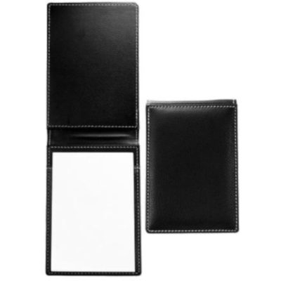 The Leather Desk Memo Pad is a flip style notepad with a black leather cover