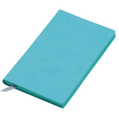 The A5 Colourplay Notebook is a turquoise soft PU cover notebook with 150 cream lined pages and a silk ribbon bookmark
