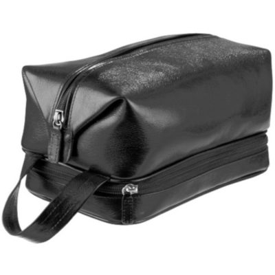 The Adpel Toiletry Bag made from black italian leather with a top pouch, bottom pouch and carry handle
