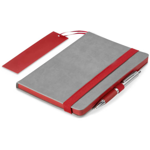 The Colourblock A5 Notebook is a grey thermo PU hardcover notebook with 192 lined pages and a brightly coloured red matt laminated bookmark, page edges, pen loop and elastic band closure