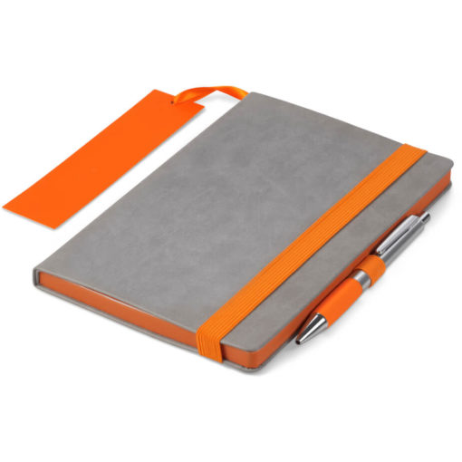 The Colourblock A5 Notebook is a grey thermo PU hardcover notebook with 192 lined pages and a brightly coloured orange matt laminated bookmark, page edges, pen loop and elastic band closure
