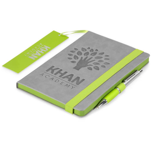 The Colourblock A5 Notebook is a grey thermo PU hardcover notebook with 192 lined pages and a brightly coloured lime green matt laminated bookmark, page edges, pen loop and elastic band closure
