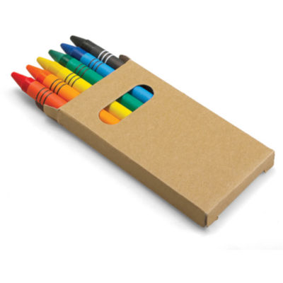 The Colour Crayons is a set of 6 brightly coloured way rayons packaged in a recycled cardbox box