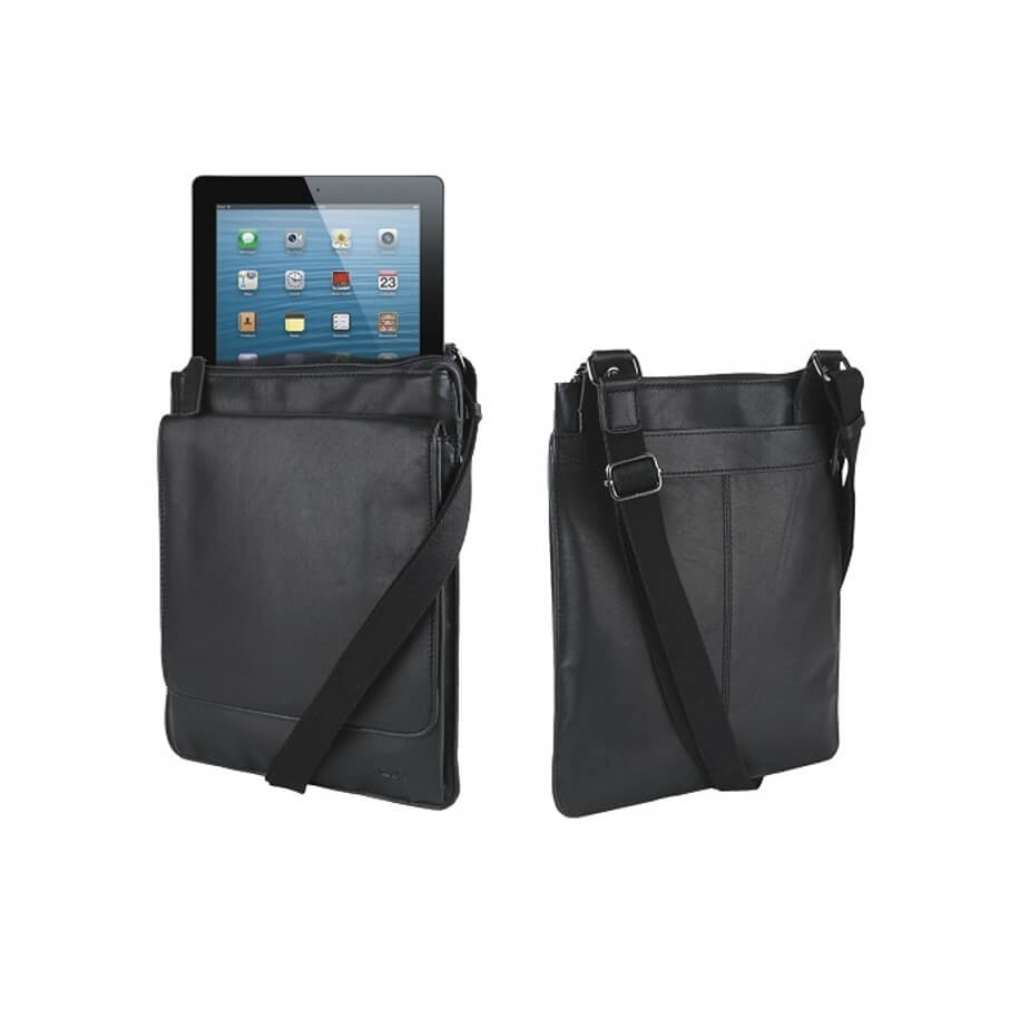 The Messenger Ipad Bag Is Made From Nappa Leather. The Features Include A Top Zip, An Adjustable Shoulder Strap, Padded Interior For The Tablets Protection, Front Document Pocket, Top Flap Opening And Fully Lined.