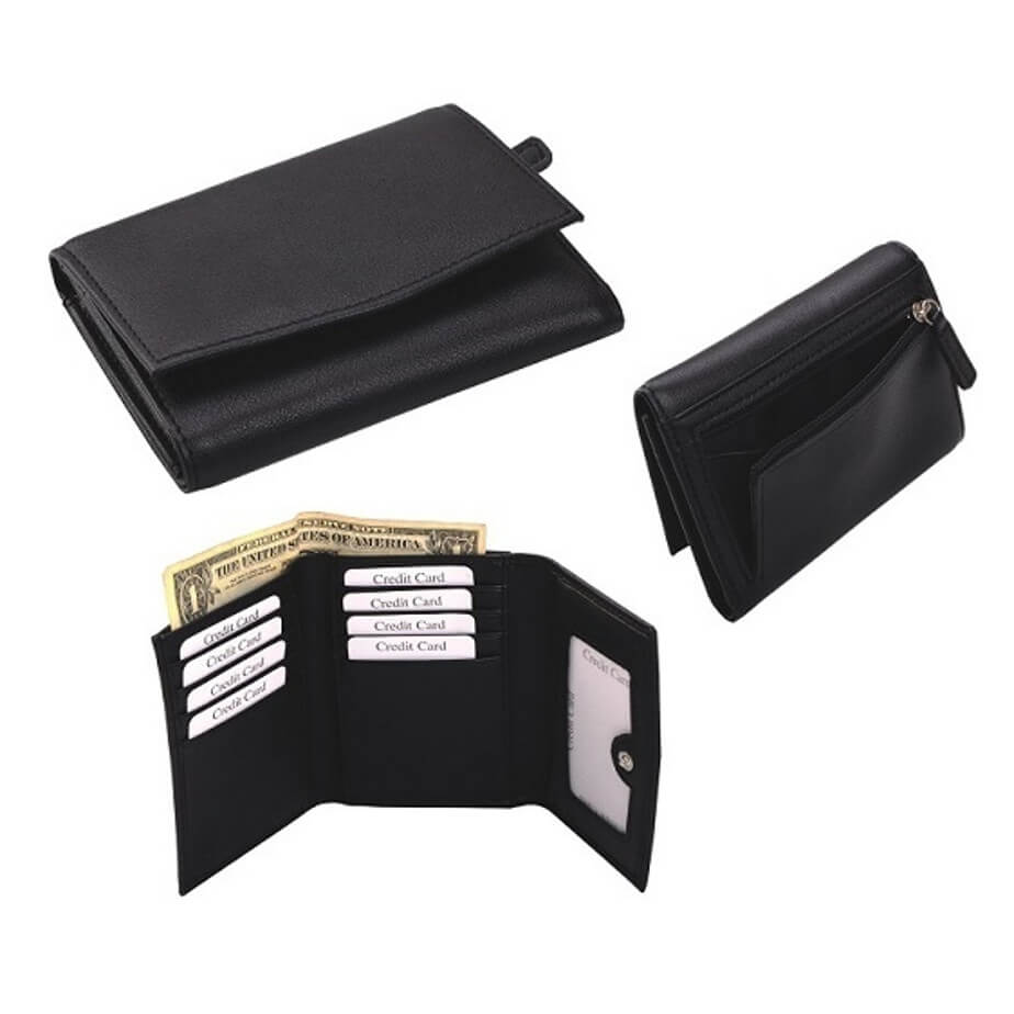 The Ladies Tri Fold Purse Is Made From Genuine Leather. The Features Include A Press Button Closure,ID/Photo Windows, A Back Zip Section For Coins , A Bank Note Section And Multiple Credit Card Pockets.