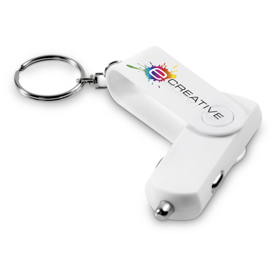 White ABS Swivel Rotary USB Car Charger With Keyring