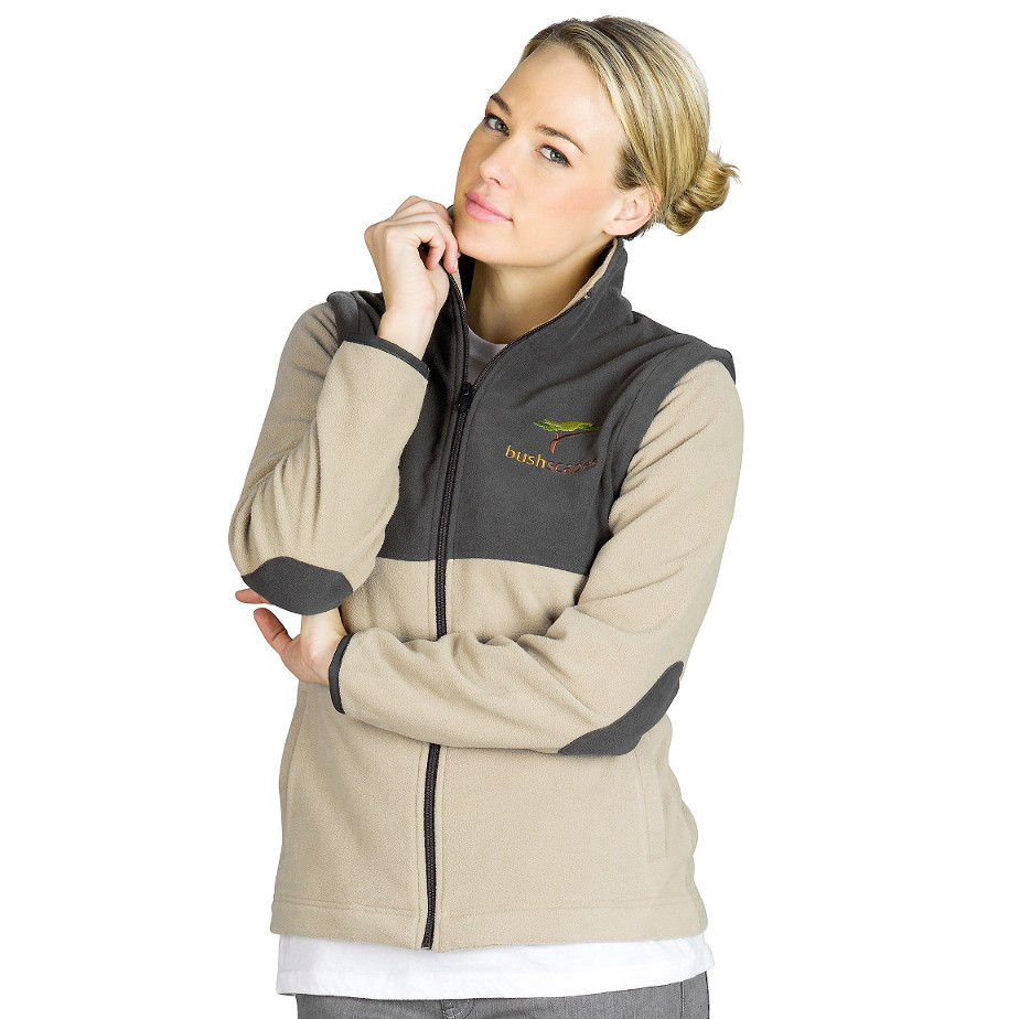 The Ladies Khaki Benneton Zip Off Fleece Jacket Features A Contrast Colour Inside Collar, Contrast Panels At Chest And Back Across Shoulders, Form Fitted Cuffs With Elastic, Two Hand Pockets, Contrast Elbow Patches And Binding On Cuffs.