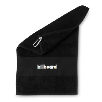 The Black Gary Player Deluxe Golf Towel Has A Brandable Flat Strip Woven Into The Towel.