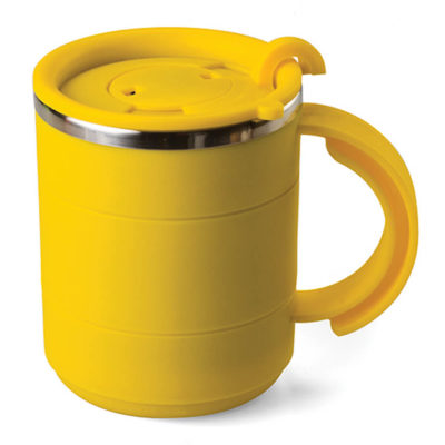 The Smarty Mug is an aluminum lined COLOUR plastic mug, with carry handle and flip top lid for easy drinking and a 400ml capacity