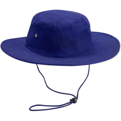Cricket Hat Is Made From 100% Cotton. Available in royal blue with a large sized brim and an adjustable string loop around the chin to find your best fit