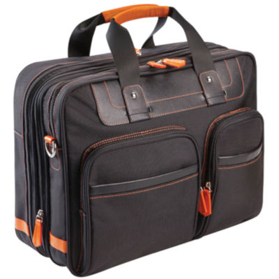 The Expandable Laptop Shoulder Bag is a PPU and 600D shoulder bag in black with orange trim detail