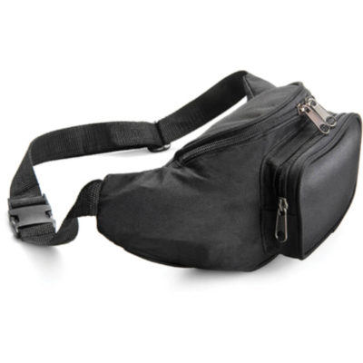 The Travelleres Moon Bag is a black 600D waistpouch with two zip pouches
