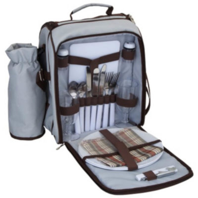 the Duet Picnic Shoulder Bag open to display the picnic set storage and the wine cooler compartment on the side. With a carry handle on the top