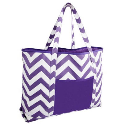 The Designer Carry Bag is a 600D purple and white zig zag shoulder bag with waterproof lining. A main compartment, front pocket and a inner zip pouch