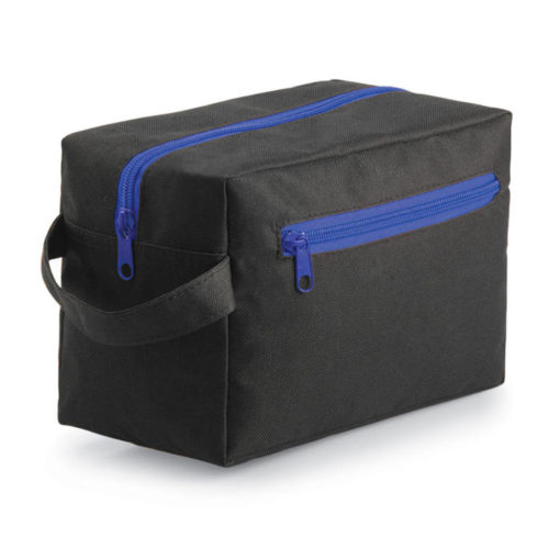 The royal blue Compact Toiletry Bag is made from 600 denier polyester. The bag features a carry handle, a main compartment and a side pocket with a zip opening.