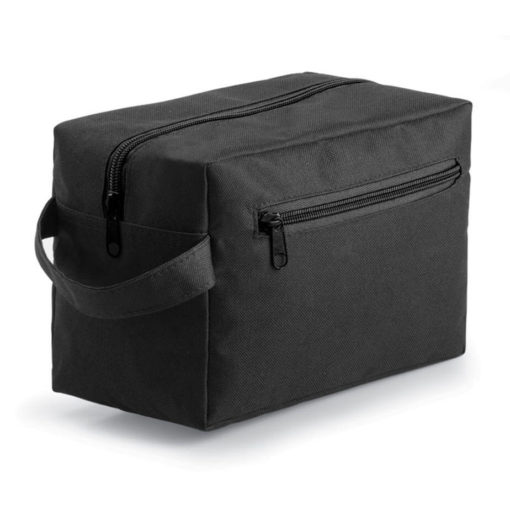 The black Compact Toiletry Bag is made from 600 denier polyester. The bag features a carry handle, a main compartment and a side pocket with a zip opening.
