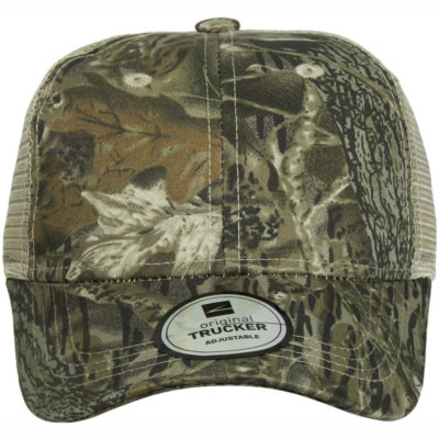 The Trucker Camo Cap in a woodland camo colour is a 4 row stitched sweatband, pre curved peak cap, made from a cotton twill with a mesh back.