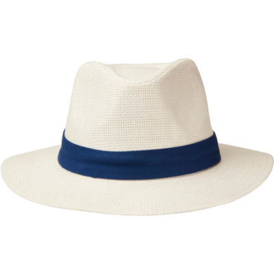 The Panama Hat is a fedora style white woven straw hat with a fully lined inner and a wide brim. Optional extra is a fabric hat band around the top of the hat in a bright colour